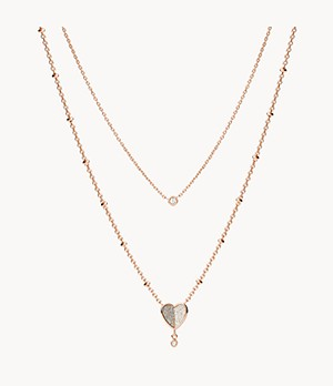 Collier multi-rangs Flutter Hearts en acier inoxydable doré rose