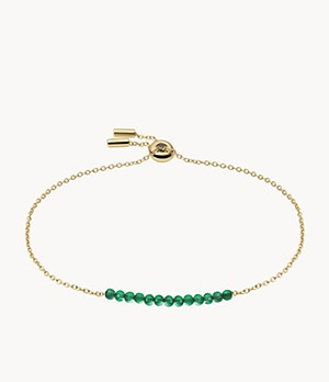 Green Agate Gold-Tone Stainless Steel Beaded Bracelet
