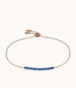 Lapis Rose Gold-Tone Stainless Steel Beaded Bracelet