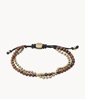 Tiger's Eye Gold-Tone Stainless Steel Multi-Strand Bracelet