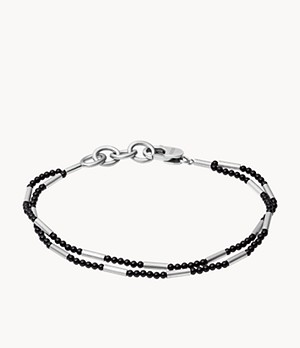 Polished Onyx Stainless Steel Multi-Strand Bracelet