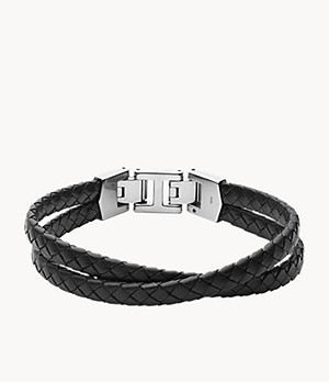 Bracelet multi-rangs Leather Essentials en cuir noir