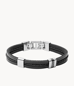 Leather Essentials Black Leather Multi-Strand Bracelet