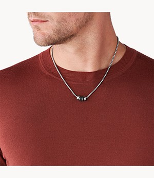 Caravan Black Lava Stainless Steel Station Necklace