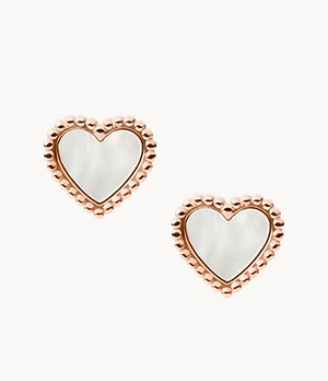 I Heart You Mother-of-Pearl Stainless Steel Stud Earrings