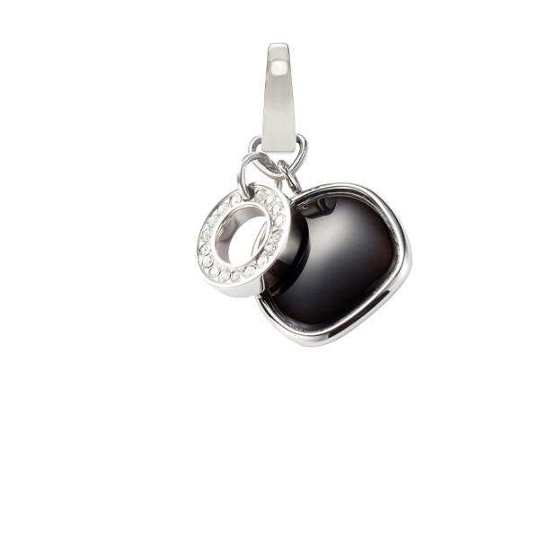 Charm cristal et perle noire