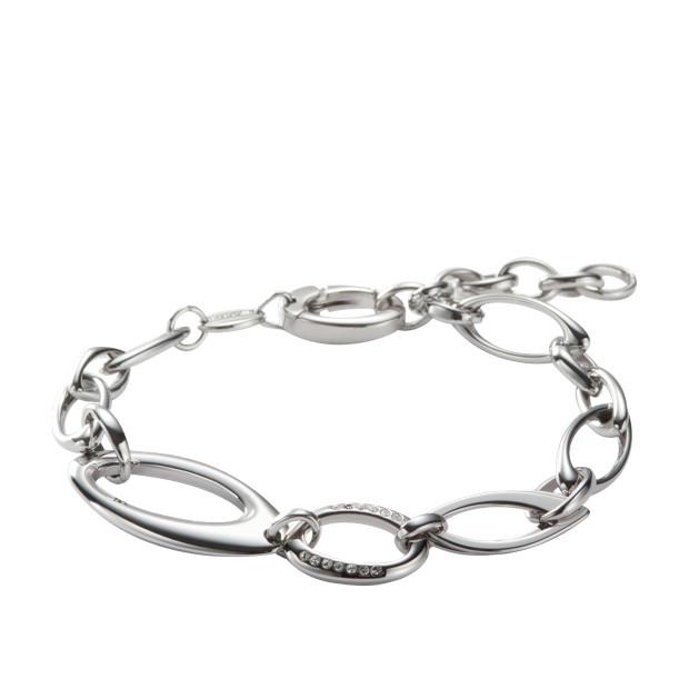 Bracelet à maillons ovales ornés de cristaux transparents