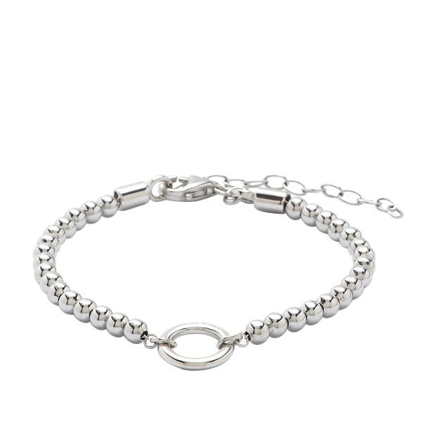 Bracelet à breloques perlé - argenté