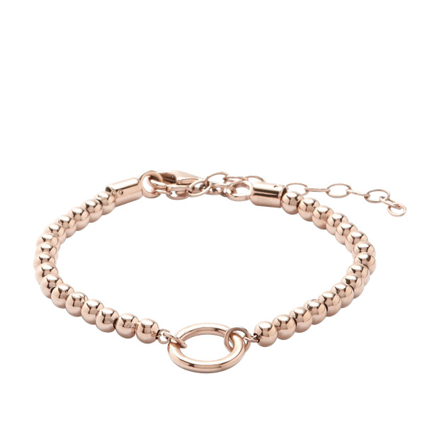 Bracelet à breloques perlé - doré rose