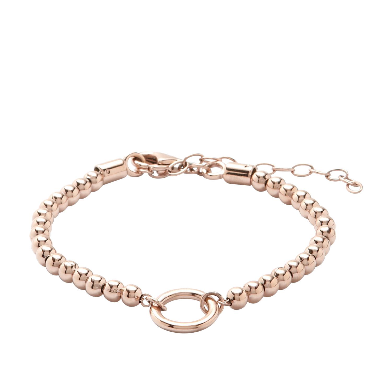 Beaded Circle Charm Starter Bracelet Rose