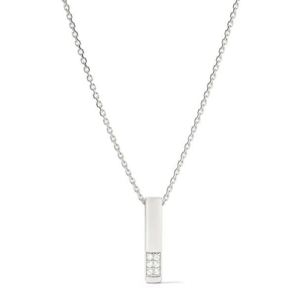 Damen Halskette - Sterling Basic Pave Glitz Bar