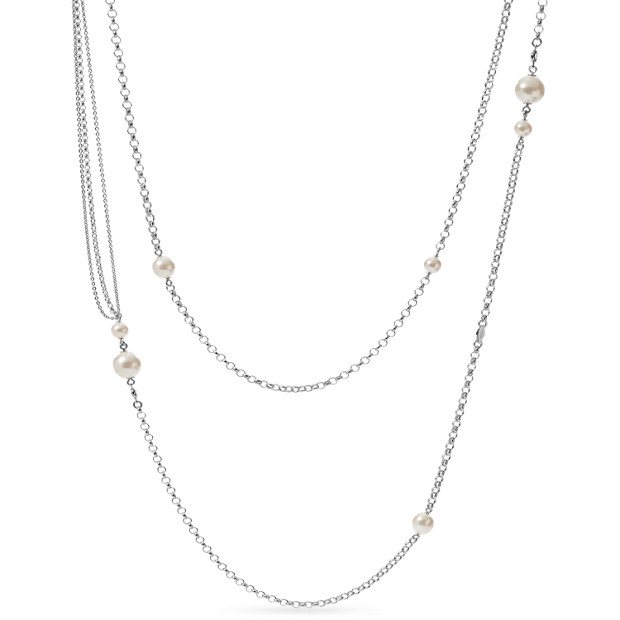 Sterling Silver Pearl Glitz Double Necklace