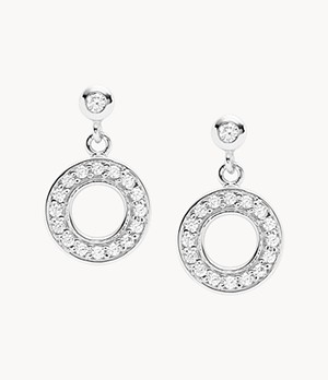 Damen Ohrringe - Open Disc Sterling Silver