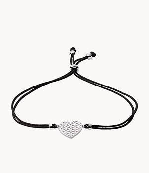 Heart Cutout Sterling Silver and Nylon Station Bracelet