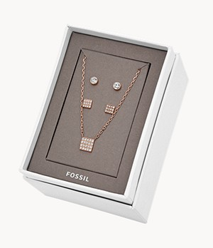 Rose-Gold-Tone Stainless Steel Studs and Necklace Gift Set