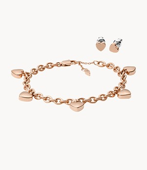 Damen Schmuckset Heart Studs and Bracelet