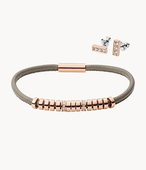Bar Rose Gold-Tone Stainless Steel Studs and Bracelet Box Set