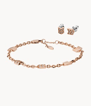 Chevron Rose-Gold-Tone Stainless Steel Studs and Bracelet Box Set