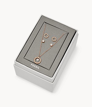 Rose Gold-Tone Steel Studs and Necklace Gift Set