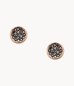 Black Pavé Disc Rose Gold-Tone Brass Studs