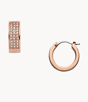 Pavé Rose-Gold-Tone Steel Huggie Hoops