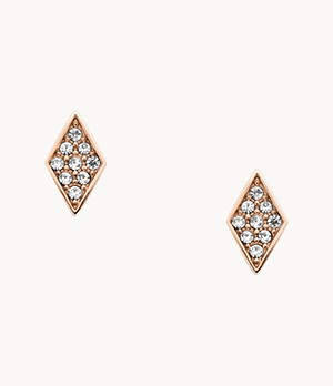 Diamond Rose-Gold-Tone Stainless Steel Studs