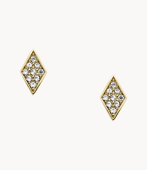 Diamond Gold-Tone Stainless Steel Studs