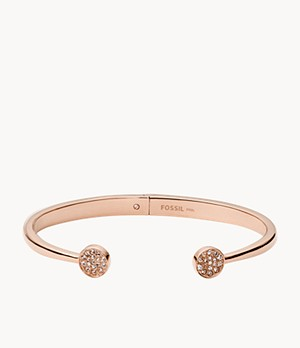 Pavé Disc Rose-Gold-Tone Stainless Steel Open Cuff