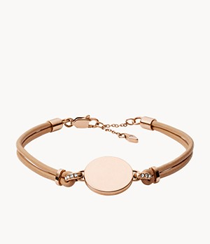 Disc Nude Leather Bracelet