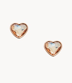 Damen Ohrringe Multi-Faceted Heart Rose Gold-Tone Earrings