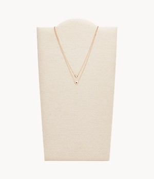 Convertible Double Heart Rose Gold-Tone Stainless Steel Necklace