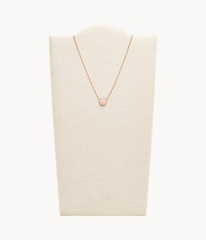 Pavé Disc Rose Gold-Tone Stainless Steel Necklace