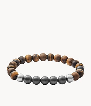 Herren Armband Tiger's Eye, Hematite and Steel Bracelet