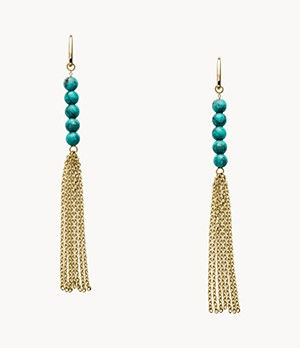Tassel Gold-Tone Stainless Steel Drop Earrings