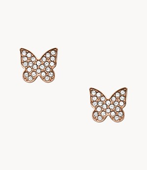 Damen Ohrstecker Rose Gold-Tone Stainless Steel Pavé Butterfly