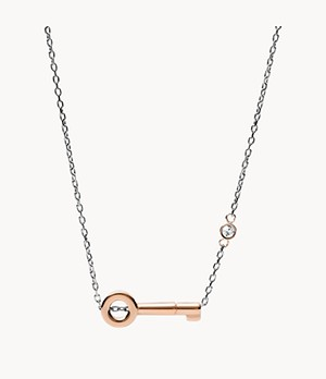 Two-Tone Stainless Steel Key Necklace