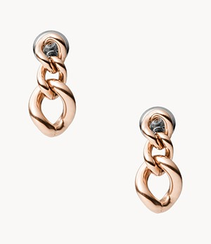 Damen Ohrringe Rose Gold-Tone Stainless Steel Drop Earrings