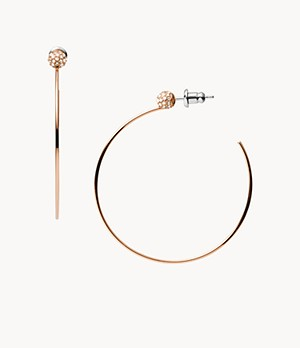 Damen Ohrringe Rose Gold-Tone Stainless Steel Hoops