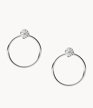 Damen Ohrringe Silver-Tone Stainless Steel Drop Earrings
