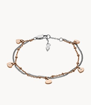 Two-Tone Stainless Steel Chain Bracelet
