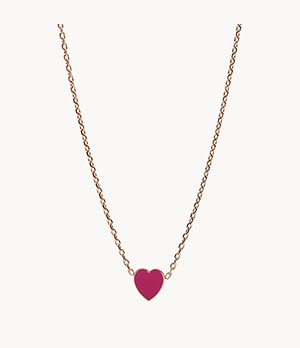 Pink Heart Stainless Steel Pendant Necklace