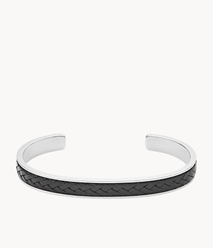 Black Leather and Stainless Steel Cuff Bracelet