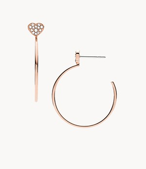 Rose-Gold-Tone Stainless Steel Hoop Earrings
