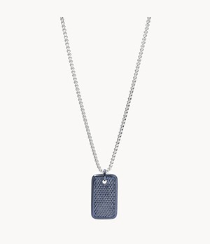 Blue Stainless Steel Pendant Necklace