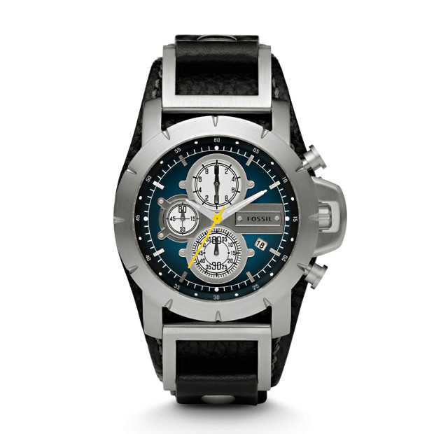 Jake Chronograph Black Leather Watch