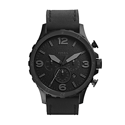 Nate Chronograph Leather Watch - Black