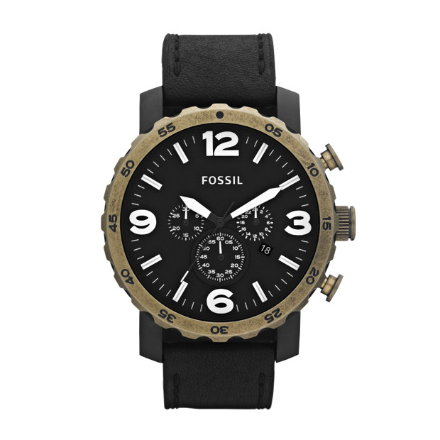 Nate Stainless Steel and Leather Watch – Black