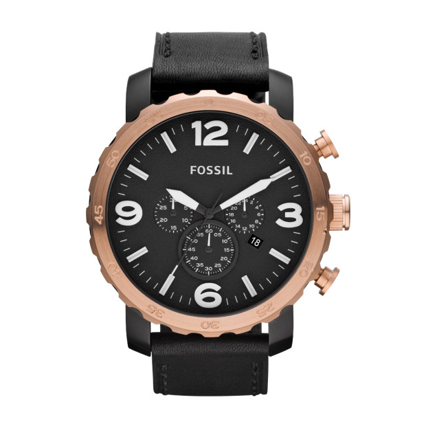 Nate Leather Watch – Black