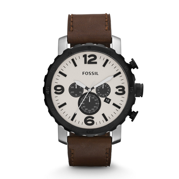 Nate Chronograph Leather Watch - Brown