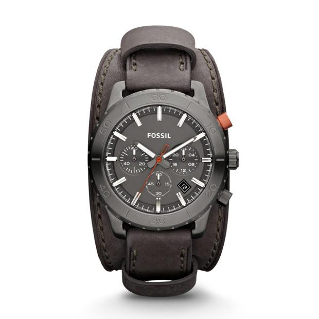 Keaton Chronograph Leather Watch – Grey